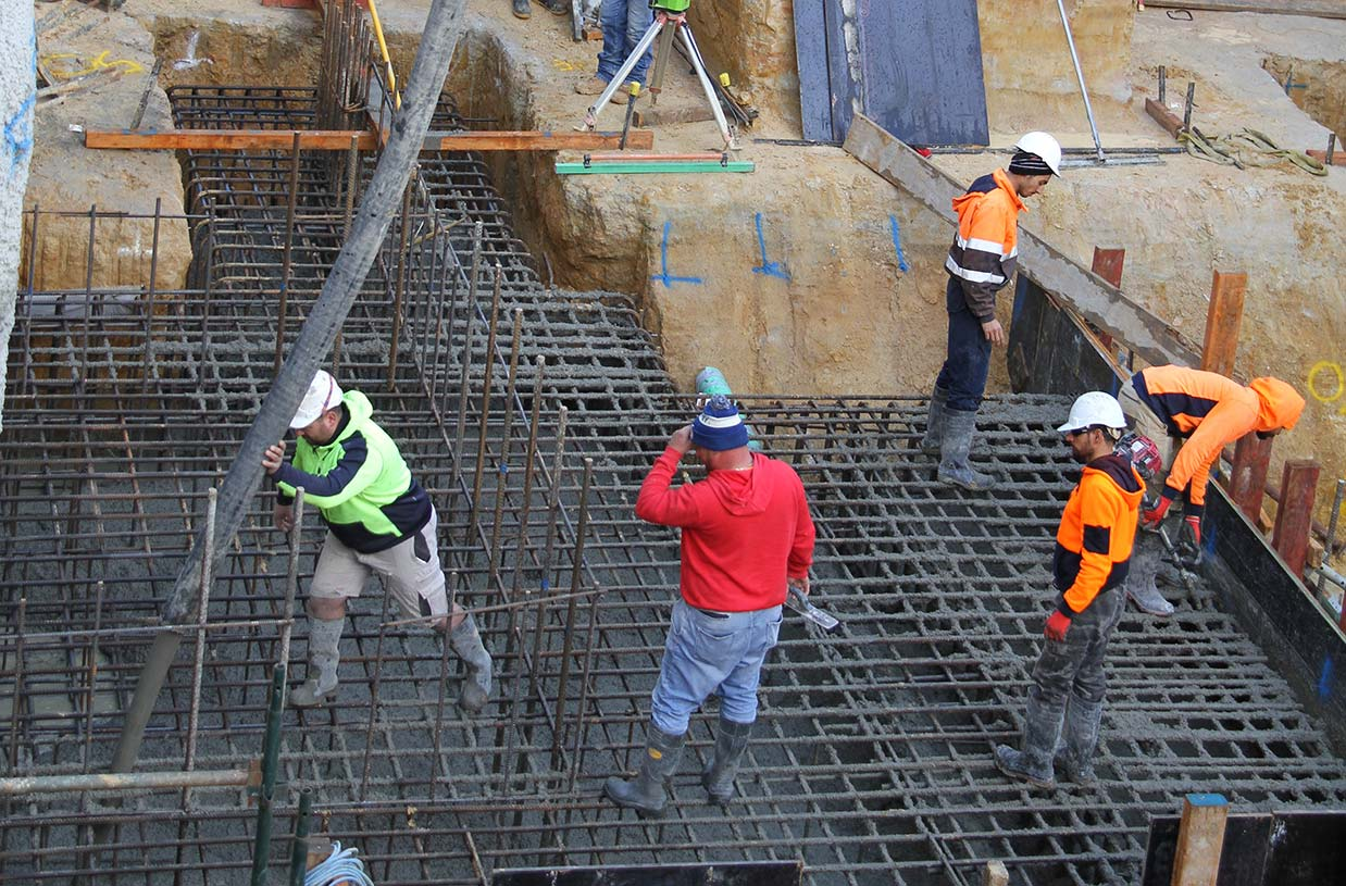 Stair and column pad footing concrete pour at Elsternwick