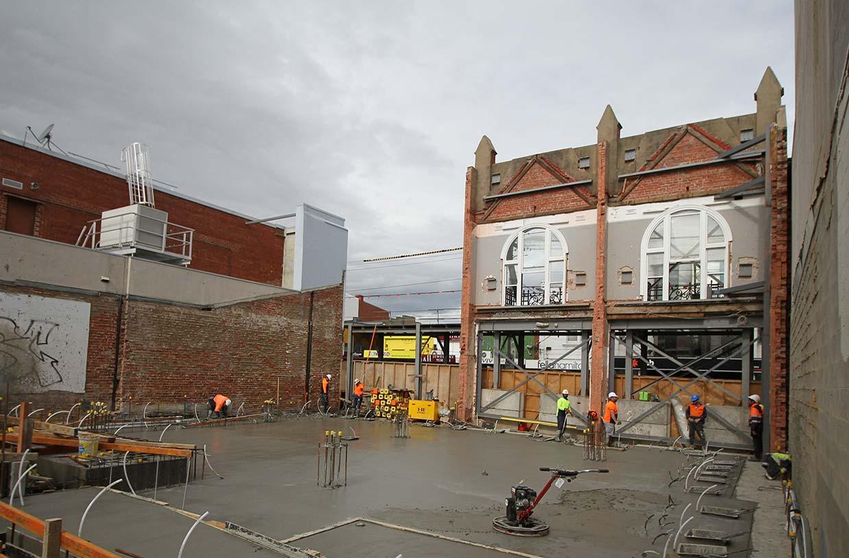 Spilt ground floor transfer slab poured today at Elsternwick